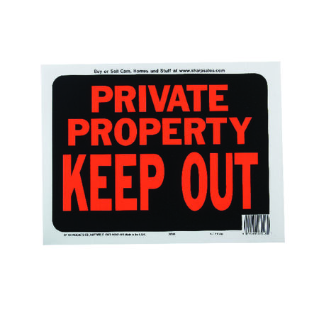 Hy-Ko English 9 in. H x 12 in. W Plastic Sign Private Property Keep Out
