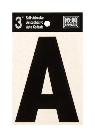 Hy-Ko Self-Adhesive Black 3 in. Vinyl Letter A