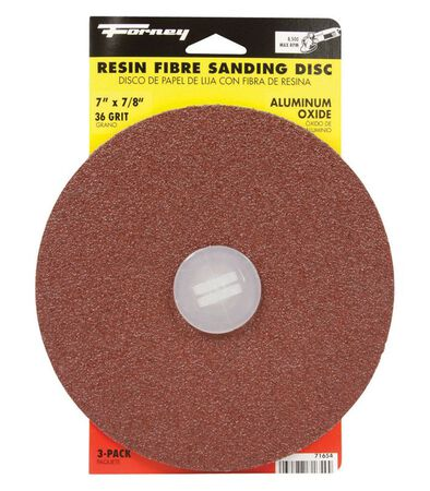 Forney 7 in. Dia. Sanding Disc 36 Grit Adhesive 3 pk