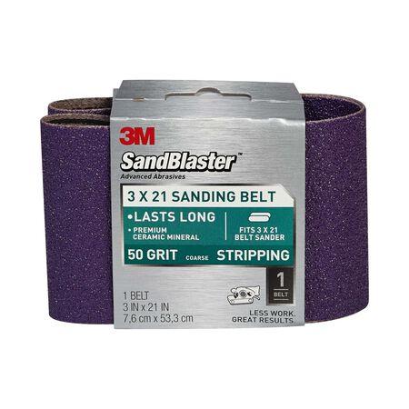 3M SandBlaster Sanding Belt 3 in. W x 21 in. L 50 Grit Coarse 1 pk