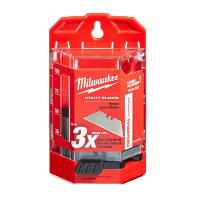 Milwaukee 3 in. L x 0.03 in. Micro Carbide Metal Utility Blade Dispenser with Blades 50 pc.
