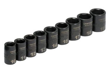 Craftsman Easy-to-Read Metric 9 pc. Steel 3/8 in. Drive Impact Socket Set