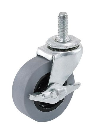 Shepherd Thermoplastic Rubber 2 in. Dia. Swivel Brakes Included Caster Gray 80 lb.