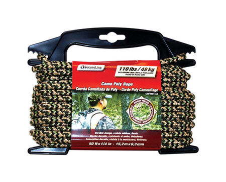 SecureLine 1/4 in. Dia. x 50 ft. L Diamond Braided Poly Rope Camouflage