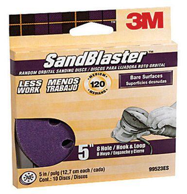 3M 5 in. Dia. Sanding Disc 120 Grit Medium Hook and Loop 10 pk