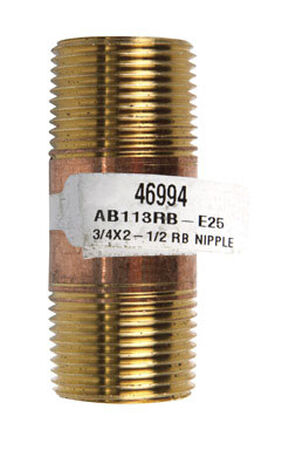 JMF 3/4 Dia. x 3/4 in. Dia. MPT To MPT To Nipple Red Brass Pipe Nipple
