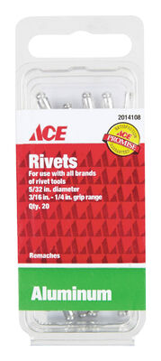 Ace 1/6 in. Dia. x 1/4 in. Aluminum Rivets 20 pk