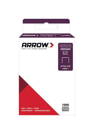 Arrow Fastener #405 5/16 in. W Wide Crown Light Duty Staples Galvanized Steel 1000 pk