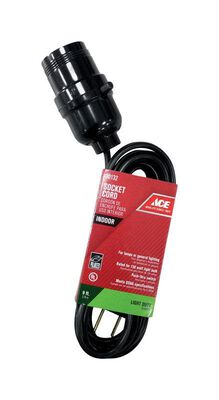 Ace Indoor Extension Cord with Socket 18/2 SPT-2 9 ft. L Black