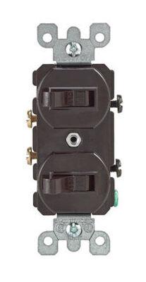 Leviton 15 amps Toggle Dual Combination Switch Single Pole