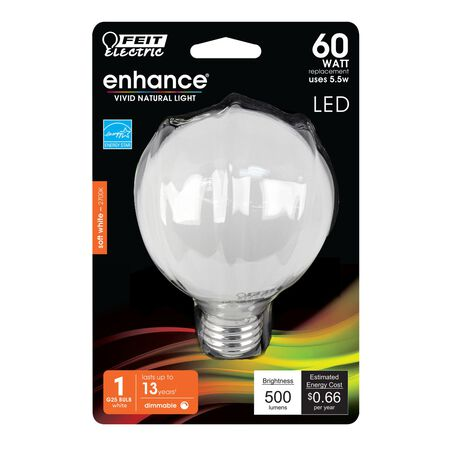 FEIT Electric Enhance G25 E26 (Medium) LED Bulb Soft White 60 Watt Equivalence 1 pk