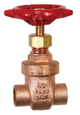 B & K 1/2 in. 1/2 in. Dia. Red Gate Valve 200 psi