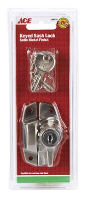 Ace Keyed 2 in. L Window Lock Die-Cast Zinc Satin Nickel