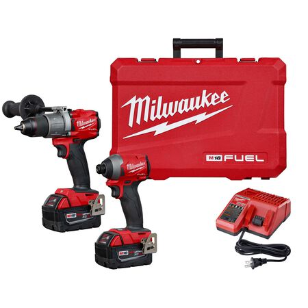 Milwaukee M18 FUEL Cordless Brushless 2 tool Hammer Drill and Impact Driver Kit 18 volt 5 amps