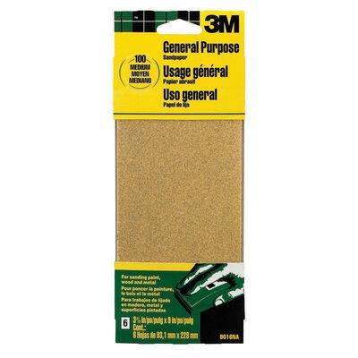 3M Aluminum Oxide Sandpaper 9 in. L 100 Grit Medium 6 pk