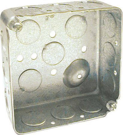 Raco 4 in. H Square 2 Gang Outlet Box 1/2 in. Gray Steel