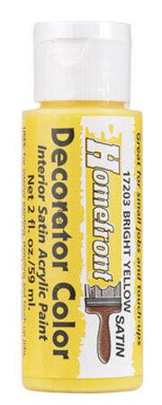 Homefront Decorator Color Bright Yellow Acrylic Latex Satin 2 oz. Paint