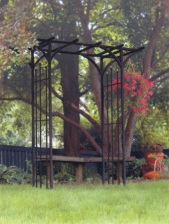 Panacea Black Steel Garden Arbor 84 in. H x 76 in. L x 20 in. W
