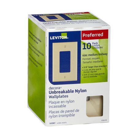 Leviton Decora Ivory 1 gang Thermoplastic Nylon Rocker Wall Plate 10 pk