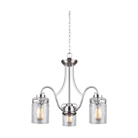 Canarm Arden 3-Light Brushed Nickel Chandelier with Watermark Glass Shades
