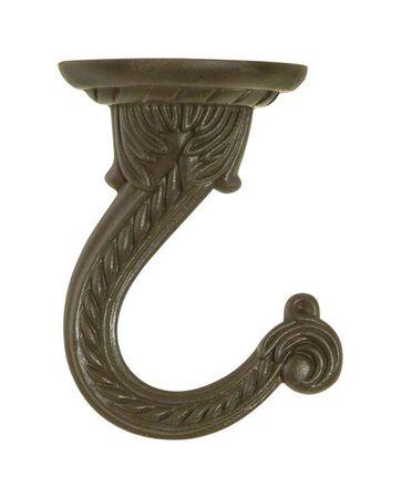Panacea Antique Brass Steel Sturdy Ceiling Swag Hook 4-9/16 in. D x 3-9/16 in. H x 1-1/2 in. W