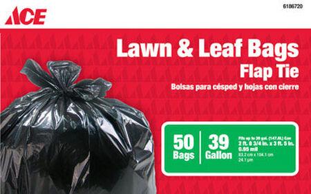 Ace 39 gal. Lawn & Leaf Bags Flap Tie 50 pk