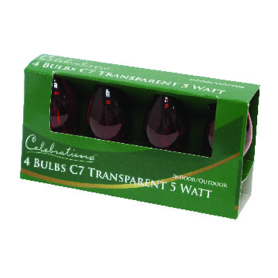 Celebrations Transparent C7 Incandescent Replacement Bulb Red 4 lights