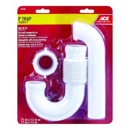 Ace 1-1/2 in. Dia. x 1-1/4 in. Dia. Slip To Slip PVC P-Trap