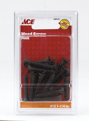 Ace Flat Wood Screw No. 12 x 1-1/4 in. L Black Steel 18 pk
