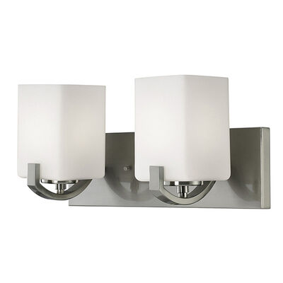 Palmer 2 Light Vanity Nickle, Flat Opal Glass IVL422A02BN