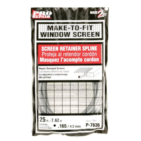 Prime-Line Window and Screen Door Frames Screen Spline 3/16 in. W x 25 in. L Gray Vinyl