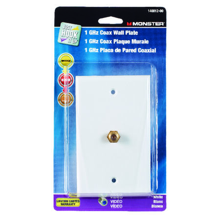 Monster Cable Just Hook It Up 1 gang White Polypropylene Coaxial Wall Plate 1 pk