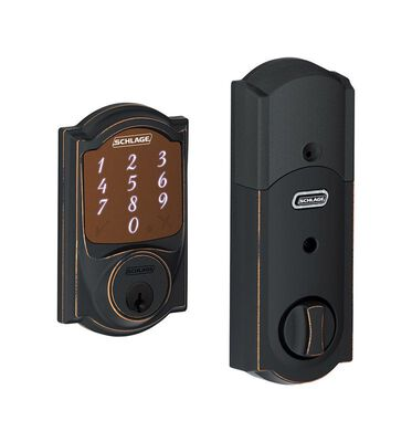 Schlage Aged Bronze Electronic Deadbolt 1-3/4 in. For Interior and Exterior Doors Grade 1 Steel