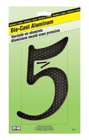 Hy-Ko Nail On Black Aluminum Number 5 4-1/2 in.