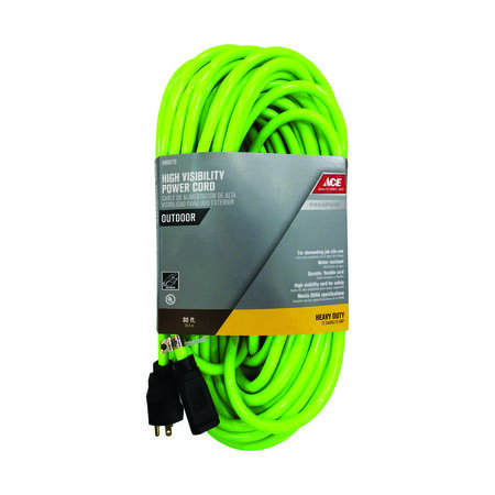 Ace Outdoor Extension Cord 12/3 SJTW 80 ft. L Neon Green