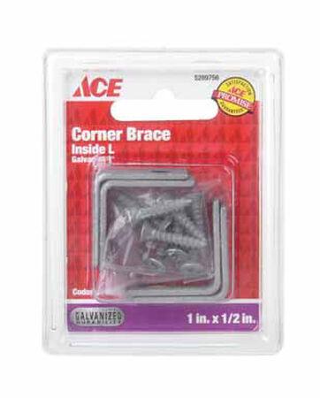 Ace Inside L Corner Brace 1 in. x 1/2 in. Galvanized Steel