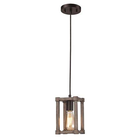 Light TG Pend Wood Sq 1lt BK