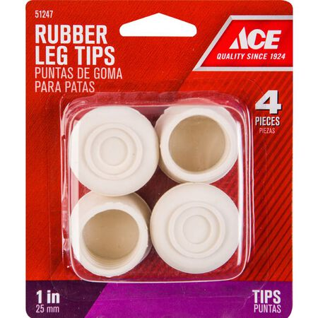 Ace Rubber Round Leg Tip Off-White 1 in. W 4 pk