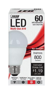FEIT Electric LED Bulb 9.9 watts 3000 K Medium A19 A-Line 1 pk 60 watts equivalency