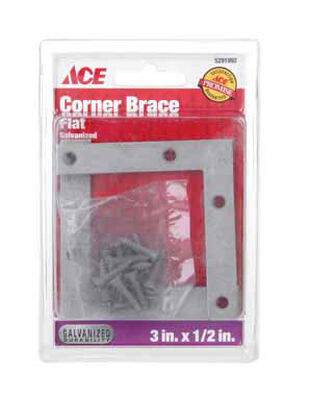 Ace Flat Corner Brace 3 in. x 1/2 in. Galvanized Steel