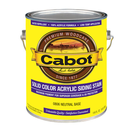 Cabot Solid Tintable 0806 Neutral Water-Based Acrylic Siding Stain 1 gal.