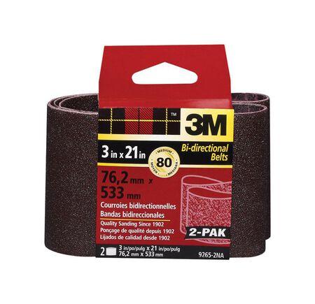 3M Sanding Belt 3 in. W x 21 in. L 80 Grit Medium 2 pk