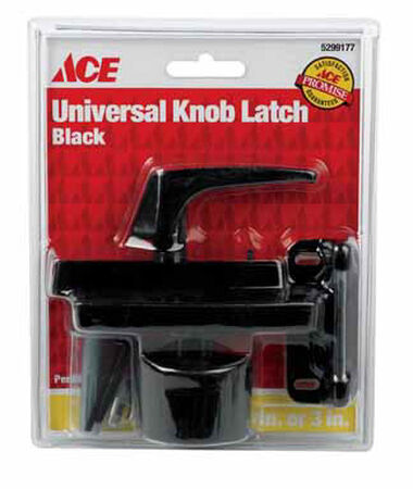 Ace Interior/Exterior Steel Black Universal Knob Latch