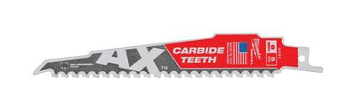 Milwaukee AX 6 in. L x 1 in. W Carbide Demolition Reciprocating Saw Blade 5 TPI 1 pk