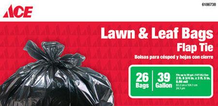 Ace 39 gal. Lawn & Leaf Bags Flap Tie 26 pk