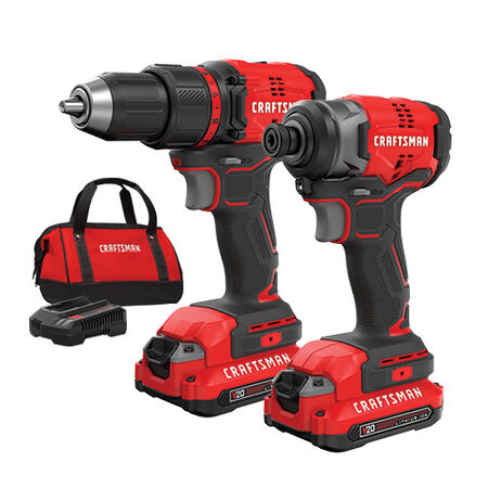 Craftsman V20* Cordless Brushless Compact 2 Tool Combo Kit (2 batteries)