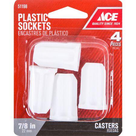 Ace Plastic 5/16 in. Dia. White Caster Socket 4 pk