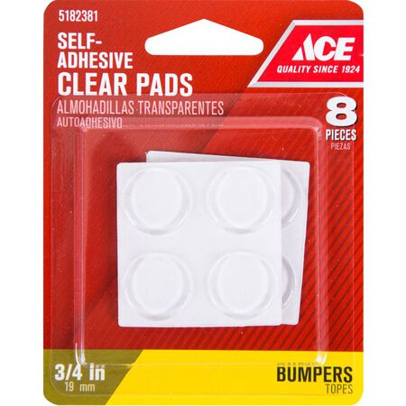 Ace Vinyl Round Protective Pads Clear 3/4 in. W 8 pk