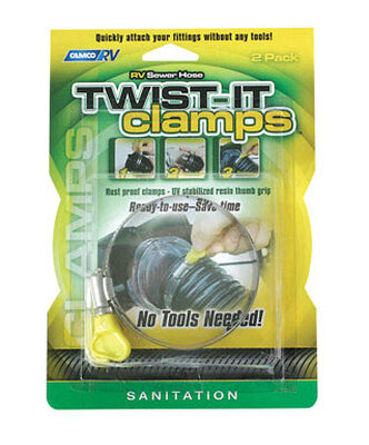 Camco RV Sewer Hose Twist-It Clamps 2 pk