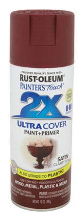Rust-Oleum Painter's Touch Ultra Cover Claret Wine Satin 2x Paint+Primer Enamel Spray 12 oz.
